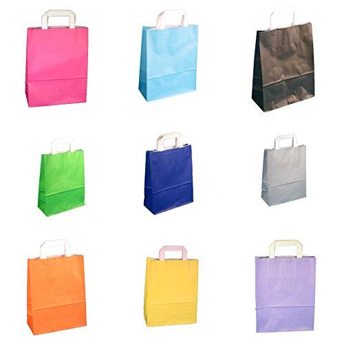 250 Papiertragetaschen Papiertüten Einkaufstüten Geschenktüten Papier 70-80g/m² 3 Verschiedene Größen 9 Farben wählbar (Rosa/Pink, 18+8x22cm)
