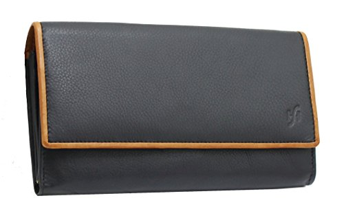STARHIDE Womens RFID Blocking Soft Real Nappa Leather Long Flap Over Purse Multi Credit Card Holder 5505 Black Tan