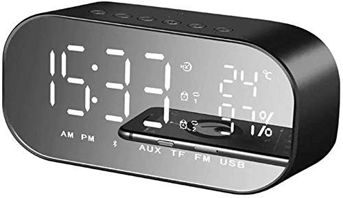 Inicio Accesorios Altavoz Bluetooth portátil Mini altavoz Bluetooth LED Altavoz Bluetooth inalámbrico Radio FM Reloj despertador USB Micro SD TF Altavoz AUX Mejor regalo Rosa Color: Rosa (Color: Ne