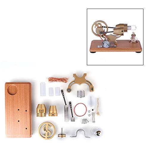 Lommer Stirlingmotor Bausatz, DIY ?-Form Metall Stirling Motor Generator Modell Stromgenerator Motor mit LED-Leuchten, Physisches Experiment Geschenk für Technikbegeisterte und Kinder