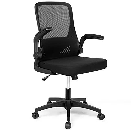 Sedia da ufficio Sedia da scrivania ergonomica, braccioli pieghevoli Schienale pieghevole, Sedia girevole regolabile con funzione a dondolo 15 °, Sedia in rete traspirante nera