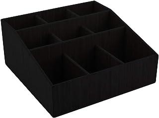 11.75 x 5.5 Inch Coffee Condiment Organizer, 1 Square Creamer Organizer - 9 Compartments, Break-Resistant, Black Bamboo Co...