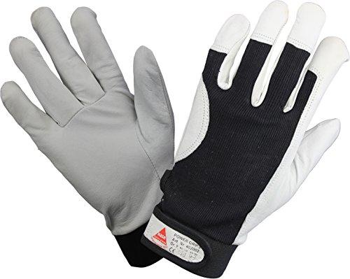 KERMEN.EU Profi Arbeits-handschuhe POWER GRIP II, 5-Fg.-Sicherheitshandschuhe aus Nappaleder - Größe: 7 bis 12, Weiß / Schwarz, 12