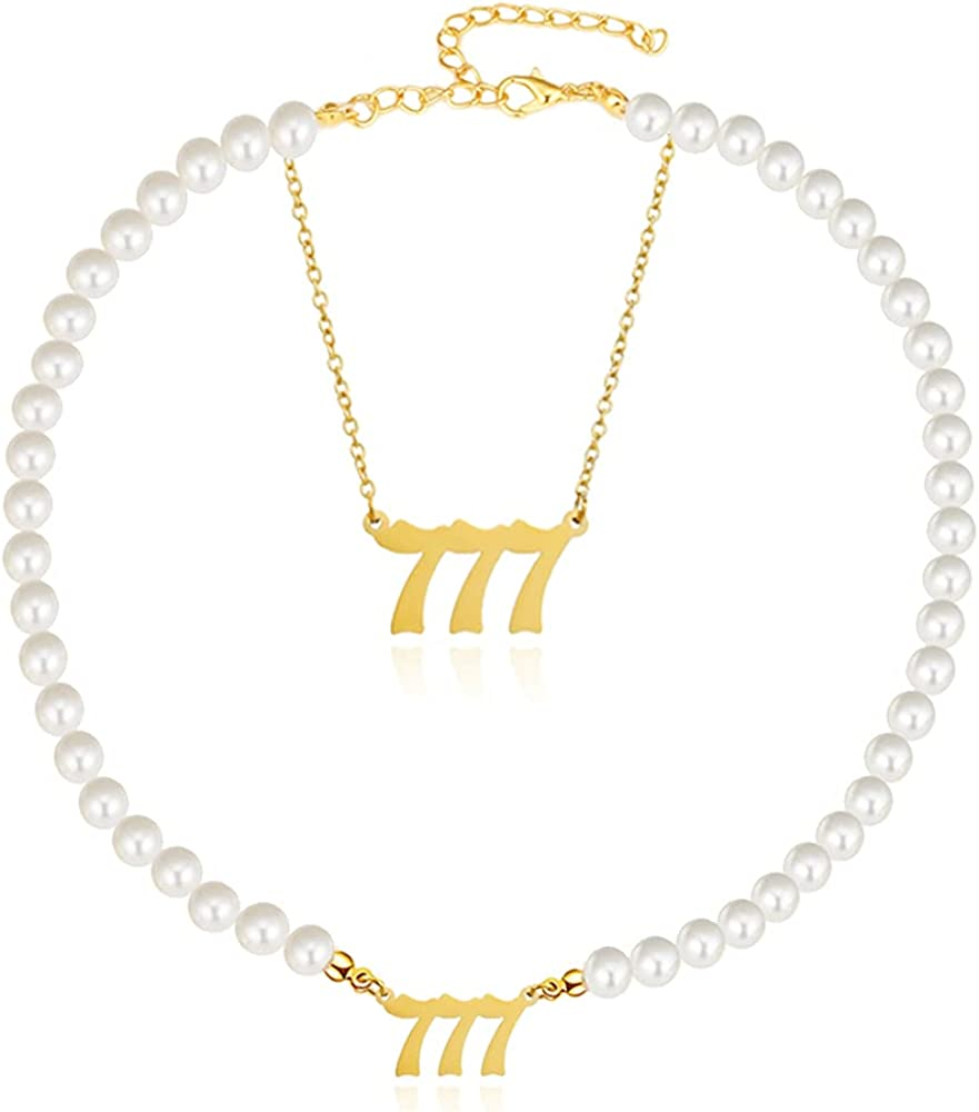 BOMAIL 2Pcs Angel Number Necklace For Women-Faux Pearl Necklace 111 222 333 444 555 777 888 999 Gold Plated Dainty Lucky Number Pendants Choker Ladies'Wedding Y2k Jewelry Necklace Set