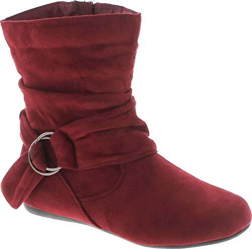 Static Footwear Selena-58 Damen-Stiefel mit flachem Absatz und seitlichem Reißverschluss, Rot (burgunderfarben), 39 EU
