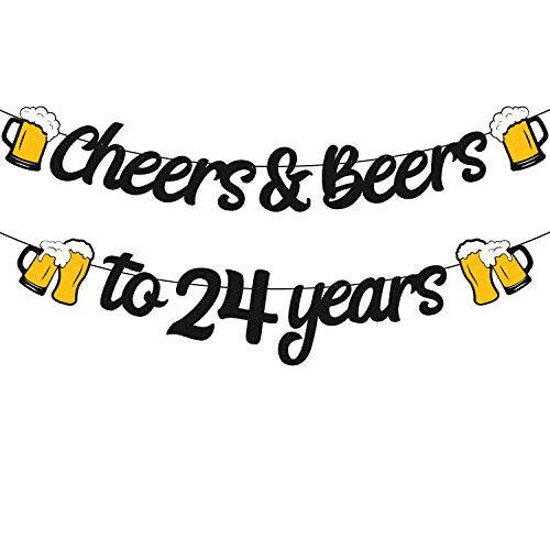 24th Birthday Decorations Cheers to 24 Years Banner for Men Women 24s Birthday Backdrop Wedding Anniversary Party Supplies Black Glitter Decorations PRE Strung