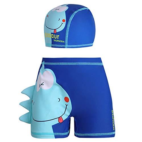 Bañador para Niños Pantalones Cortos de Baño de Dinosaurio de Dibujos Animados Ropa de Playa Secado Rápido Surf Trajes de baño con Gorro de Baño 1-6 Años