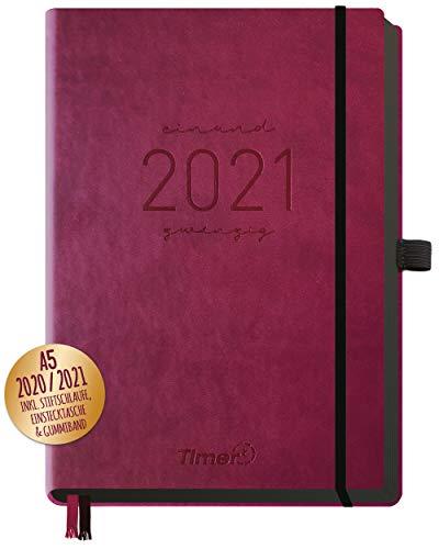 Chäff-Timer Deluxe Kalender 2020/2021 A5 [Berry] Terminplaner 18 Monate: Juli 20 - Dez. 21 | Terminkalender, Wochenplaner mit Stiftschlaufe, Gummiband & Einstecktasche | nachhaltig & klimaneutral