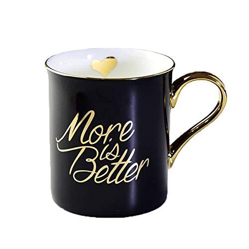 Denise Lamb Wassertasse, Abgedeckter Löffel Polygon Gold Kreative Keramik Tasse Business Office Kaffeetasse, 250ml