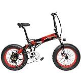 LANKELEISI X2000 20 Pouces Fat Bike Pliant Vélo Électrique 7 Vitesse Neige Vélo 48V 12.8Ah 500 W Moteur en Alliage D'aluminium Cadre 5 Pas VTT. (Noir Rouge, 10.4Ah)