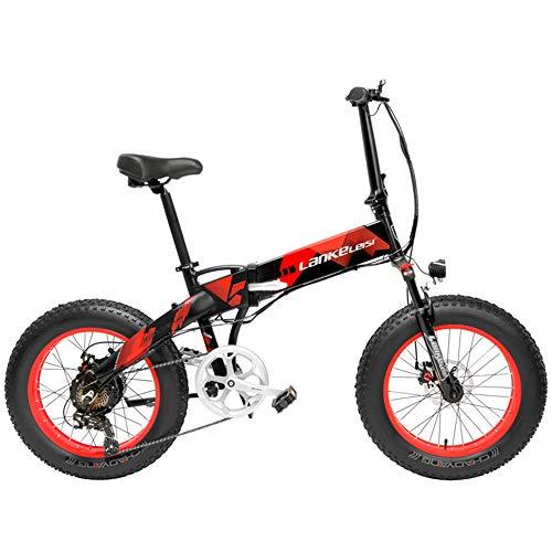 LANKELEISI X2000 Bicicleta de 20 pulgadas Bicicleta eléctrica plegable Bicicleta de nieve de 7 velocidades 48V 12.8Ah 1000W Marco de motor de aleación de aluminio 5 pasos MTB. (Negro rojo, 10,4 Ah)