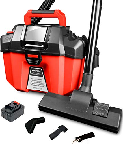 Evereze Cordless Shop Vac Wet Dry Vacuum 2 Peak HP 2.6 Gallon Lightweight Powerful Suction, Portable Shop Vacuum with Floor Brush, 2.0Ah Battery and Charger for Garage, Car, Home & Workshop -V20 Plus…