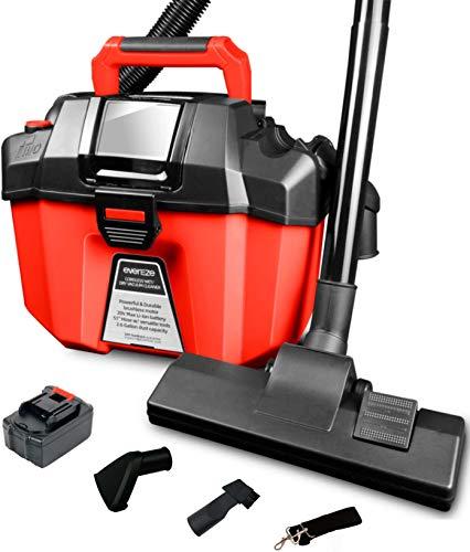 Evereze Cordless Wet Dry Vacuum Shop Vac 2 Peak HP, 2.6 Gallon, Portable 3 in 1 Shop Vacuum Blower EVC2002 with 2.0Ah Battery