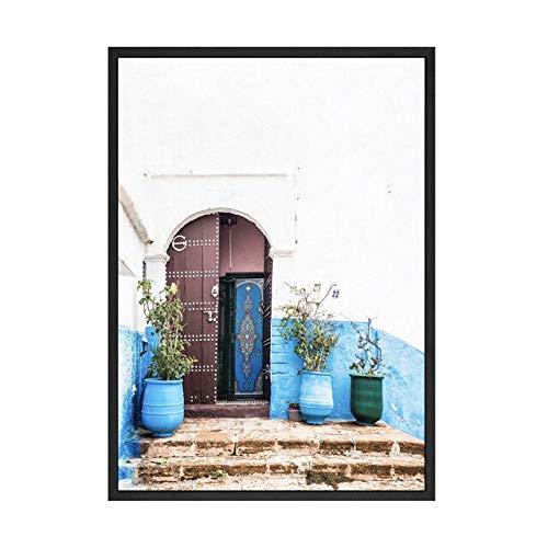 (Geen frame) 60x80CM Home Decor Canvas Schilderij Poster Muur Kunstwerk Blauwe Deur Decoratie En Papier Gesneden Behang Nordic Style Modulaire Foto's Prints
