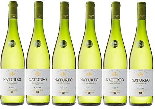 Natureo Muscat (Sin Alcohol), Vino Blanco Desalcoholizado - 6 botellas de 75 cl, Total: 4500 ml