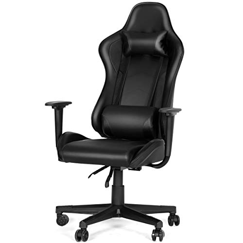 YOLENY Gaming Chair Computer Game Chair Office Chair Ergonomic High Back PC Desk Chair Height Adjustment Swivel Rocker with Headrest and Lumbar Support Lumbar Pillow,Green