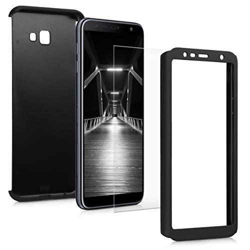 kwmobile Hülle kompatibel mit Samsung Galaxy J4+ / J4 Plus DUOS - Hülle komplette Abdeckung - mit Bildschirmschutz Metallic Schwarz