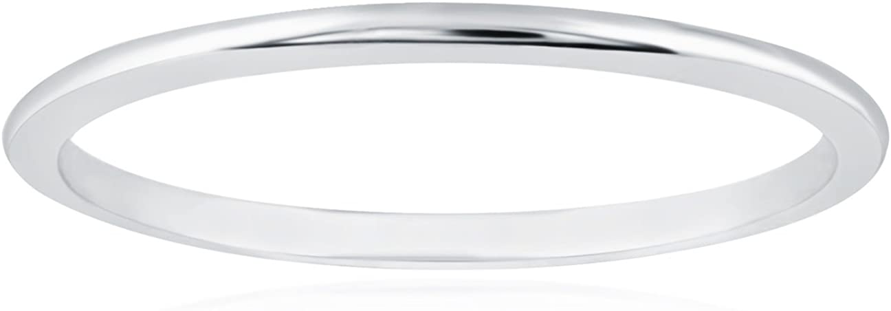 Solid 14k White Gold 1mm Thin Stacking Wedding Band Ring | Various Sizes | Gift Boxed