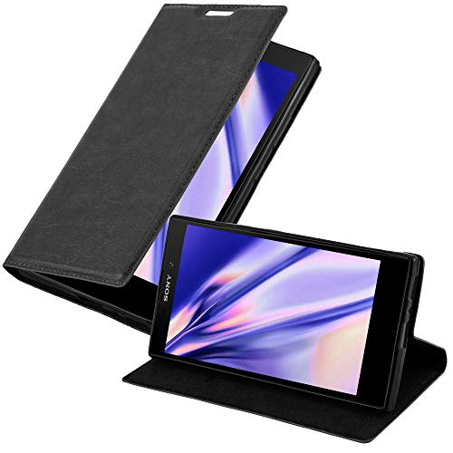Cadorabo Hülle für Sony Xperia L2 - Hülle in Nacht SCHWARZ – Handyhülle mit Magnetverschluss, Standfunktion & Kartenfach - Case Cover Schutzhülle Etui Tasche Book Klapp Style
