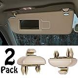 PorporBooya 2-Pack Interior Sun Visor Hook Clip Bracket for A1 A3 A4 A5 Q3 Q5 OEM(8E0 857 562) (Beige)