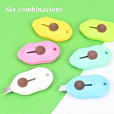 Weibo 6 pcs Mini Utility Knives Box Cutter Retractable Letter Opener, for Envelope, Package, Paper Cut, Safe Mail Opener (Pin