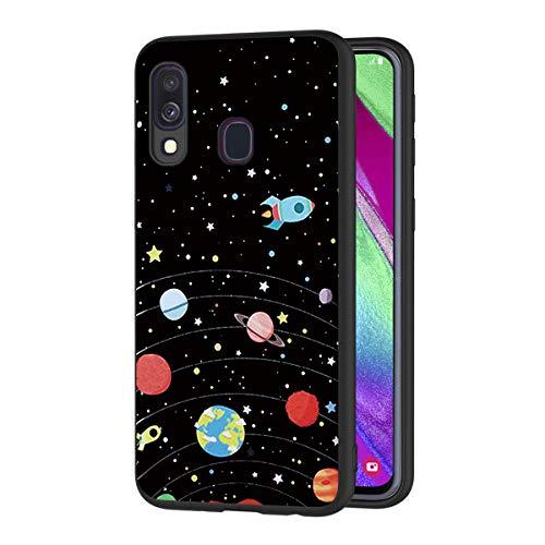 ZhuoFan Funda Samsung Galaxy A40 Cárcasa Silicona Ultrafina Negra con Dibujos Diseño Suave TPU Gel Antigolpes de Protector Piel Case Cover Bumper Fundas para Movil GalaxyA40, Cielo de Estrellas