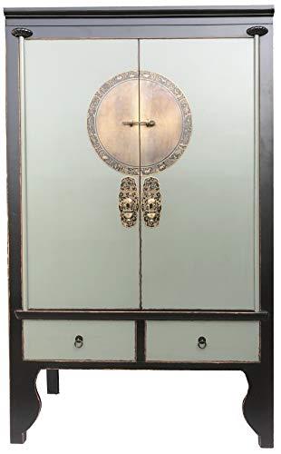 OPIUM OUTLET Chinesischer Hochzeitsschrank asiatischer Kleider-Schrank China Vintage Shabby orientalisch
