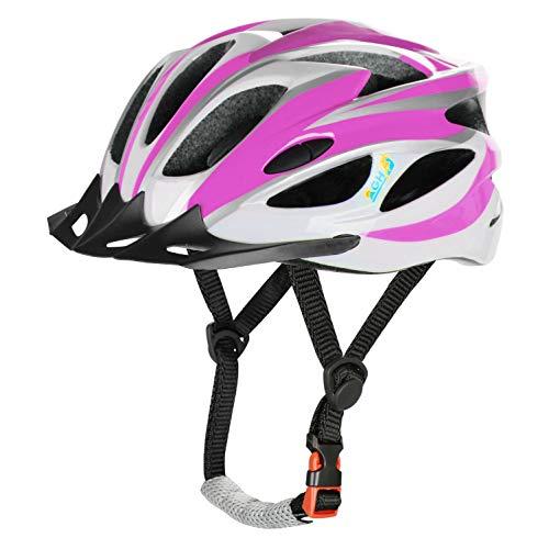 AGH Adult Bike Helmet, Mountain Bike Bicycle Helmets for Women Men, Adult Helmet with Detachable Visor (DarkPink)