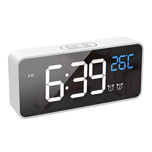 GEEKBES Digitaler Wecker mit Große LED Temperaturanzeige, tragbarer Spiegelalarm mit 2 Alarmen, Tischuhr mit 13 Musik/ 4 Helligkeit und Lautstärke Regelbar, Snooze, Sprachsteuerung, USB Ladeanschluss