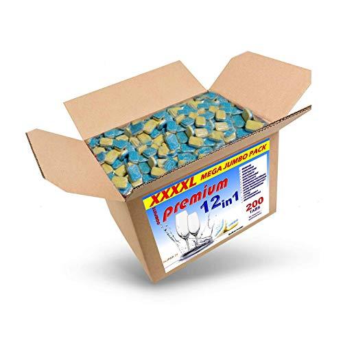 4 Kg (ca.200) Spülmaschinentabs 12 in 1 in wasserlöslicher Folie, A-Ware, Qualitätsware für jede Spülmaschine geeignet, Geschirrspültabs, Spültabs