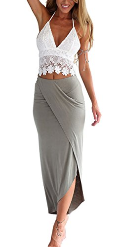 Aivtalk- (Set de 2 Falda Verano con Top Camiseta Franja de Encaje Falda de Tubo Vestido Ropa Mujeres Casual Playa - Blanco y Gris - Talla S M L XL