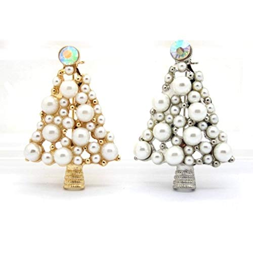 Imitation Pearls Weihnachtsbaum Brosche Pin Frauen Mode Strass Broschen Weihnachten-Silber