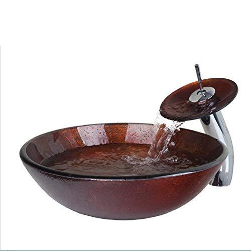Jgophu Glasschale, Waschbecken, Decor Art Waschbecken mit Wasserfall Wasserhahn gehärtetem Glas Waschbecken Set
