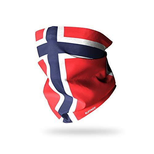 Ruffnek Schlauchschal mit Flagge von Norwegen, multifunktional, Halswärmer, Schal, Snood, Gesichtsmaske – Hund Spazierengehen, Wandern, Skifahren – Herren, Damen & Kinder – Einheitsgröße