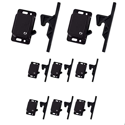 MELLYK RV Drawer Latches, 10 LB Pull Force Holder for RV Cabinet Doors with Mounting Screws, 8pack Grabber Catches, Perfect for RV, Bathroom, Camper, Kitchen, Home, Office - Black