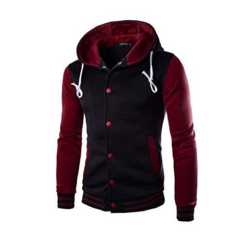 JiaMeng Hombres Chaqueta Primavera otoño e Invierno Algodón Abrigo Chaqueta Outwear Sweater Sudadera de Invierno Slim Warm(Vino Rojo,XL)