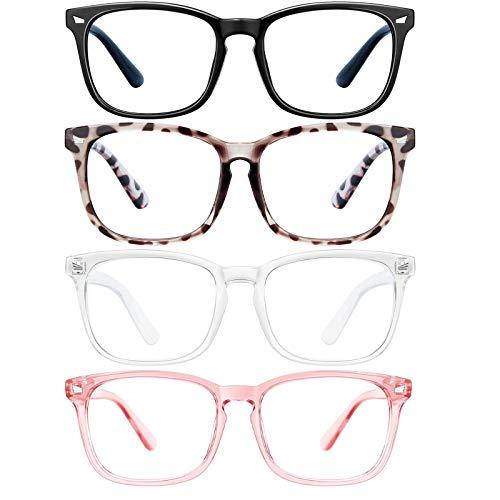 4 Pack Benobby Blue Light Blocking Glasses Computer Gaming Glasses Square Eyeglasses Frame,Blue Light Blocker Glasses for Women Men Anti Eye Eyestrain Reading Game Glasses