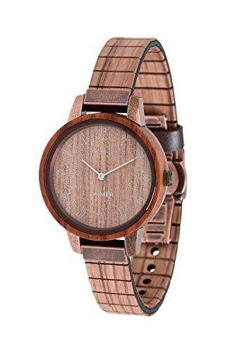 LAiMER Damen-Armbanduhr ELVIRA Mod. 0082 aus Rosenholz - Analoge Quarz-Uhr mit flexiblem Holzarmband
