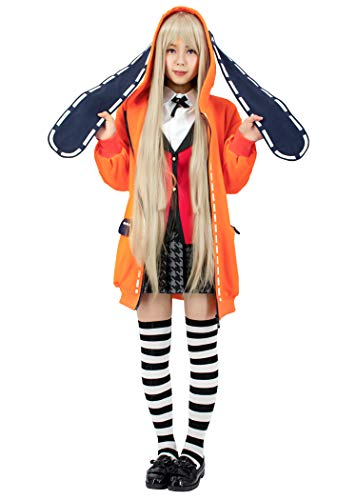 C-ZOFEK Runa Yomozuki Cosplay Costume Orange Hooded Jacket With Ears (Large)