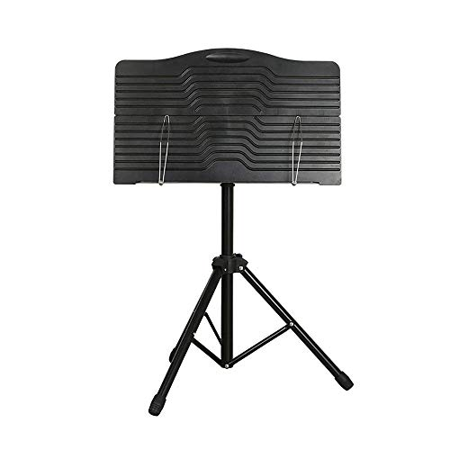 FGDSA Music Stand Heavy Duty Conductor Orchestral Sheet Music Stand Tripod Base Folding Adjustable Height Holder Music Stand for Multiple Instruments Laptop Stand (Color : Black, Size : 45x140cm)