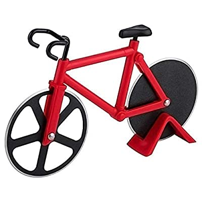 Bicycle Pizza Cutter Wheel Non-Stick Cutting Wheel Dual Stainless Steel best for Holiday Vacation Housewarming Cool Kitchen Gadget Gift with Stand (Red) by AUKMONT