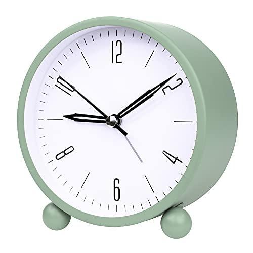 Despertadores verdes mesita de noche no hacer tictacs relojes con luz nocturna simplemente función para dormitorio oficina