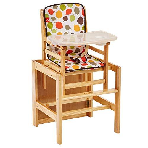 YLCJ Baby hoge stoelen eettafel stoelen milieuvriendelijk massief hout opvouwbaar grote ruimte instelbaar (kleur: Couleur Bois, grootte: groot) Large Couleur Vernis