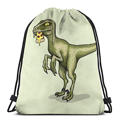 XCNGG Drawstring Bag Raptor Eating Pizza Floor Pillow Training Gymsack