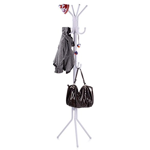 USUN 173CM Metal Coat Rack Free Standing Display Stand Hall Tree with 3 Tiers and 11 Hooks for Clothes Scarves Bags Umbrella and Hats 45173-2 (White)