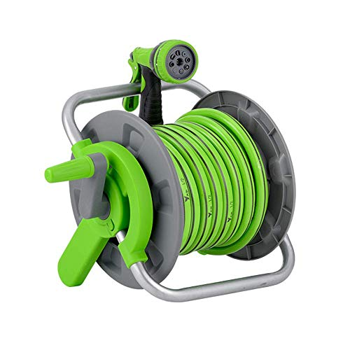 Hose Reel Car, Portable Verstelbare Nozzle Water Pipe Reel met slang voor tuin, auto, huis schoonmaken (15m)