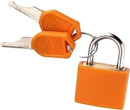 Multicolor Kleine Messing Hangsloten Plastic Hangslot met 2 Sleutels voor Toolbox Bag Bagage Dagboek (Oranje)