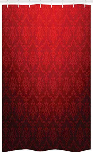 ABAKUHAUS Dunkelrot Schmaler Duschvorhang, Antiker Blumenschatten, Badezimmer Deko Set aus Stoff mit Haken, 120 x 180 cm, Schwarz Rot
