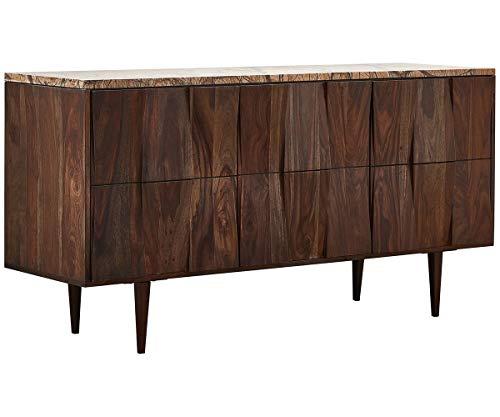 DELIFE Sideboard Shia 147x45x76 cm Massivholz mit Marmorplatte