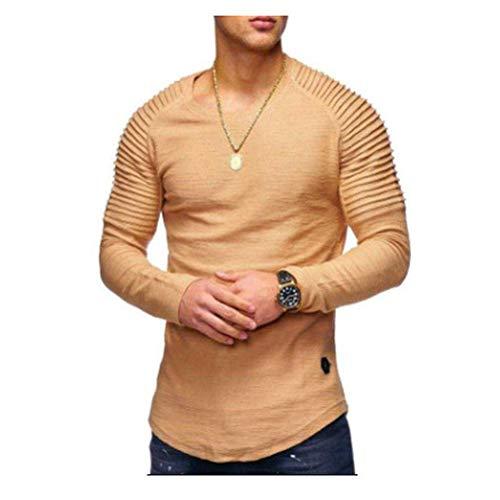 Morbuy Herren Sweatshirt Crew Neck Jogging Sweatshirts Pullover Trainingsanzug Pure Farbe Sport Langarm (M, Khaki)